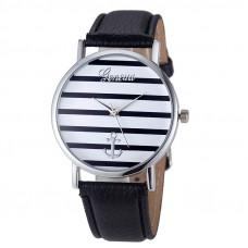 Unisex kožené hodinky Geneva Námořník času - 3 barvy Barva: Stříbrno- černé