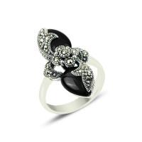 OLIVIE Masivní stříbrný prsten Marcasite & Onyx 2127 Velikost prstenů: 10 (EU: 62 - 64)