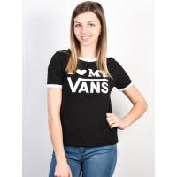 Vans LOVE RINGER black/white dámské tričko s krátkým rukávem - XS