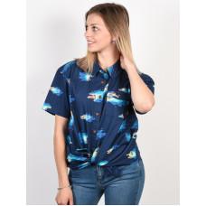 Element HOFFMAN WOVEN NEON BLUE dámská košile krátký rukáv - M