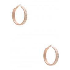 GUESS náušnice Rose Gold-Tone White Enamel Logo Hoop Earrings vel. P2474374417A