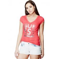 GUESS tričko Xabiera Block červené vel. XS