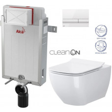 ALCAPLAST - SET Renovmodul - předstěnový instalační systém + tlačítko M1710 + WC OPOCZNO CLEANON METROPOLITAN + SEDÁTKO (AM115/1000 M1710 ME1)