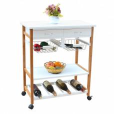 Servírovací stolek na kolečkách ADLER bílá - TempoKondela