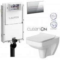 LAUFEN - Podomít. systém LIS TW1 SET + ovládací tlačítko CHROM + WC CERSANIT SPLENDOUR CLEANON + SEDÁTKO (H8946630000001CR SP1)