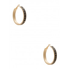 GUESS náušnice Gold-Tone Black Enamel Logo Hoop Earrings vel. P2473526134A