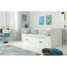 Rozkládací bílá postel Hermiona 200x80 vč.matrací - BM