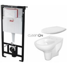 ALCAPLAST - SET Sádromodul - předstěnový instalační systém + WC CERSANIT ARTECO CLEANON + SEDÁTKO (AM101/1120 X AT2)