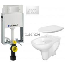 GEBERIT - SET KOMBIFIXBasic včetně ovládacího tlačítka DELTA 21 Bílé pro závěsné WC CERSANIT ARTECO CLEANON + SEDÁTKO (110.100.00.1 21BI AT2)