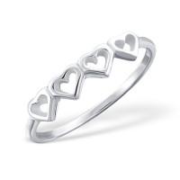 OLIVIE Stříbrný srdíčkový prstýnek 1032 Velikost prstenů: 7 (EU: 54 - 56)
