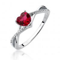 OLIVIE Stříbrný prsten SRDCE RUBY 3635 Velikost prstenů: 5 (EU: 47 - 50)