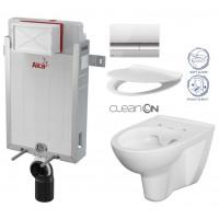ALCAPLAST - SET Renovmodul - předstěnový instalační systém + tlačítko M1721 + WC CERSANIT CLEANON PARVA + SEDÁTKO (AM115/1000 M1721 PA2)