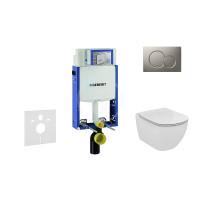 Geberit Sada pro závěsné WC + klozet a sedátko Ideal Standard Tesi - sada s tlačítkem Sigma01, matný chrom 110.302.00.5 NF3