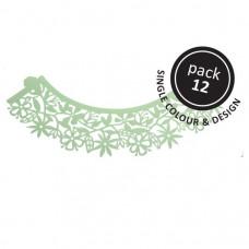 PME Obal na cupcake, mufiny, Sv. zelené květy, 12ks