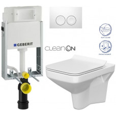 GEBERIT - SET KOMBIFIXBasic včetně ovládacího tlačítka DELTA 21 Bílé pro závěsné WC CERSANIT CLEANON COMO + SEDÁTKO (110.100.00.1 21BI CO1)