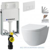 GEBERIT - SET KOMBIFIXBasic včetně ovládacího tlačítka DELTA 50 Bílé pro závěsné WC LAUFEN PRO RIMLESS + SEDÁTKO (110.100.00.1 50BI LP1)
