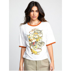 RVCA SHINTARO CATS Vintage White dámské tričko s krátkým rukávem - S