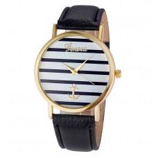 Unisex kožené hodinky Geneva Námořník času - 3 barvy Barva: Zlato- černé