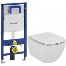 GEBERIT - SET Duofix pro závěsné WC 111.300.00.5 bez ovládací desky + WC TESI (111.300.00.5 TE3)