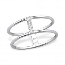 OLIVIE Stříbrný dvojitý prsten se zirkony 1198 Velikost prstenů: 5 (EU: 47 - 50)