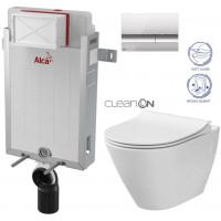 ALCAPLAST - SET Renovmodul - předstěnový instalační systém + tlačítko M1721 + WC CERSANIT CLEANON CITY + SEDÁTKO (AM115/1000 M1721 CI1)