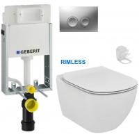 GEBERIT - SET KOMBIFIXBasic včetně ovládacího tlačítka DELTA 21 MAT pro závěsné WC TESI RIMLESS (110.100.00.1 21MA TE2)