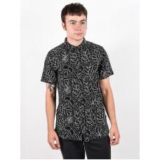 Rip Curl SWC MOTIF LINEN black pánská košile krátký rukáv - L