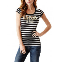 GUESS tričko Nella Stripe Logo Tee černé vel. XL