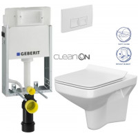GEBERIT - SET KOMBIFIXBasic včetně ovládacího tlačítka DELTA 50 Bílé pro závěsné WC CERSANIT CLEANON COMO + SEDÁTKO (110.100.00.1 50BI CO1)