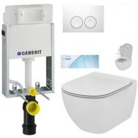 GEBERIT - SET KOMBIFIXBasic včetně ovládacího tlačítka DELTA 21 Bílé pro závěsné WC TESI se sedátkem SoftClose, AquaBlade (110.100.00.1 21BI TE1)