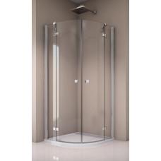SanSwiss ANR55 0800 50 07 Sprchový kout čtvrtkruhový 80×80 cm s dvoukřídlými dveřmi, aluchrom/sklo