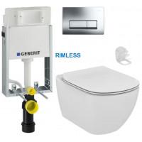 GEBERIT - SET KOMBIFIXBasic včetně ovládacího tlačítka DELTA 51 CR pro závěsné WC TESI RIMLESS (110.100.00.1 51CR TE2)