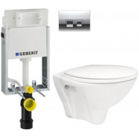 GEBERIT - SET KOMBIFIXBasic včetně ovládacího tlačítka DELTA 50 CR pro závěsné WC CERSANIT ARES + SEDÁTKO (110.100.00.1 50CR AR1)