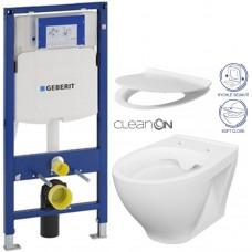 GEBERIT - SET Duofix pro závěsné WC 111.300.00.5 bez ovládací desky + WC CERSANIT MODUO CLEANON + SEDÁTKO (111.300.00.5 MO1)