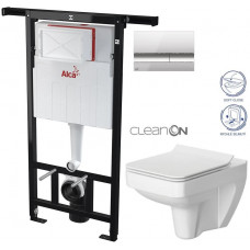 ALCAPLAST - SET Jádromodul - předstěnový instalační systém + tlačítko M1721 + WC CERSANIT CLEANON SPLENDOUR + SEDÁTKO (AM102/1120 M1721 SP1)