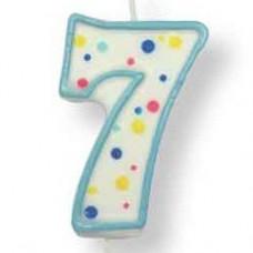 Svíčka dortová, modrá - číslo 7