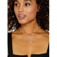 GUESS náhrdelník Rose Gold-tone Mesh Enamel Charm Necklace vel. P2565674904A