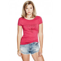GUESS tričko Tracy Foil Tee růžové vel. XS