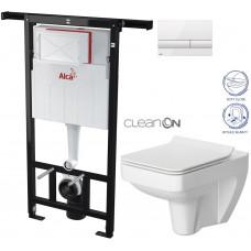 ALCAPLAST - SET Jádromodul - předstěnový instalační systém + tlačítko M1710 + WC CERSANIT CLEANON SPELNDOUR + SEDÁTKO (AM102/1120 M1710 SP1)