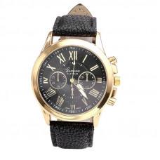 Unisex kožené hodinky Geneva Atraktivnost - 5 barev Barva: Černá