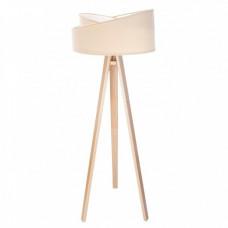 Stojací lampa Awena krémová + bílý vnitřek + dřevěné nohy
