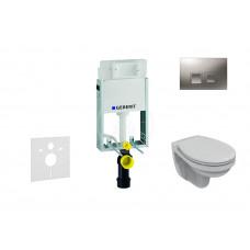 Geberit Sada pro závěsné WC + klozet a sedátko Ideal Standard Quarzo - sada s tlačítkem Delta50, matný chrom 110.100.00.1 NR6