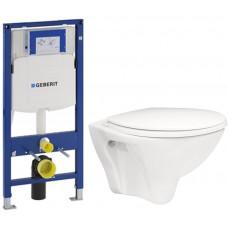 GEBERIT - SET Duofix pro závěsné WC 111.300.00.5 bez ovládací desky + WC ARES + SEDÁTKO (111.300.00.5 AR1)