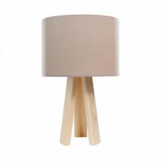 Stolní lampa Luna béžová bílý vnitřek + dřevěné nohy