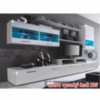 Obývací stěna LEO bílá/bílá extra vysoký lesk HG - TempoKondela