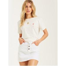 Billabong STARS AND PALMS SALT CRYSTAL dámské tričko s krátkým rukávem - S