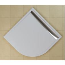 SanSwiss WIR 55 090 50 04 Sprchová vanička čtvrtkruhová 90×90 cm bílá, kryt aluchromový, skládá se z WIR 55 090 04 a BWI 090 50 04