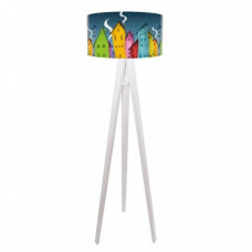Dětská stojací lampa Night house + bílý vnitřek + bílé nohy