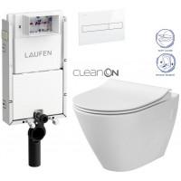LAUFEN - Podomít. systém LIS TW1 SET BÍLÁ + ovládací tlačítko BÍLÉ + WC CERSANIT CITY CLEANON + SEDÁTKO (H8946630000001BI CI1)