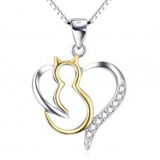 OLIVIE Stříbrný náhrdelník ZLATÁ KOČKA V SRDCI 4696
